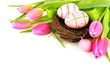 Obrazy na płótnie, fototapety, zdjęcia, fotoobrazy drukowane : Easter nest with painted eggs and vibrant tulip flowers