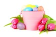 Tulips and pink pail filled with painted Easter eggs