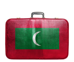 Vintage travel bag with flag of Maldives