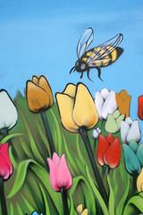 Tulips and bee,Street art