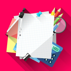Flat school background with empty paper and school supplies