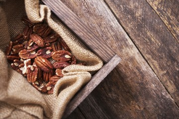 Raw Pecans in Wood Crate