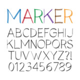 Marker Pen Font and Numbers, Eps 10 Vector Editable