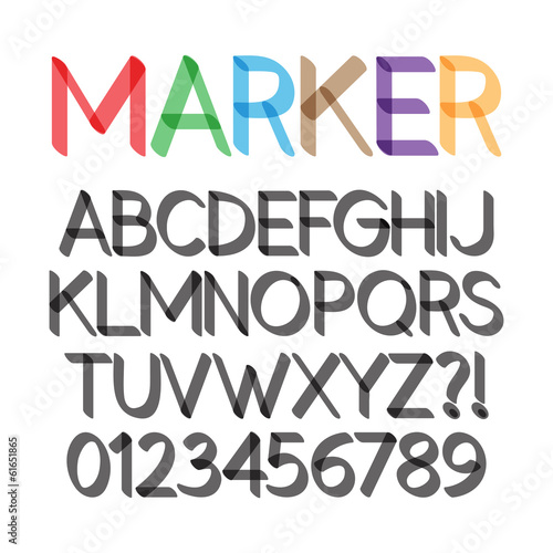 Rounded Bold Marker Pen Font and Numbers, Eps 10 Vector Editable