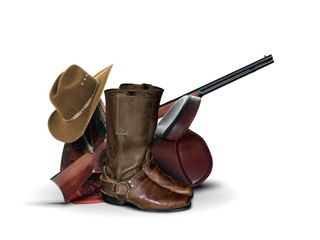 Cowboy Equipment over White