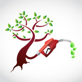 eco gas pump tree illustration design