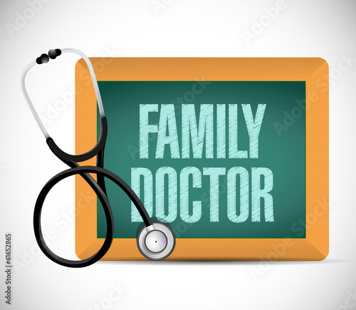 family doctor sign written on a chalkboard.