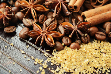 Fragrant spices, coffee and reed sugar