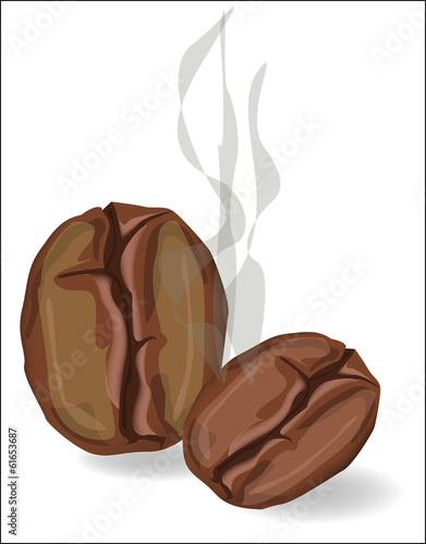 Coffee beans with smoke on a white background