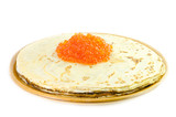 Plate with pancakes and caviar