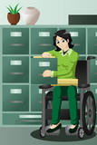 Businesswoman in wheelchair working in the office, filing files