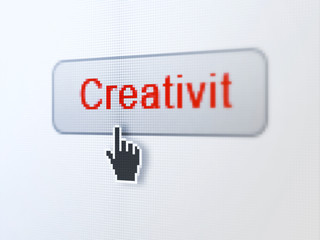 Advertising concept: Creativity on digital button background