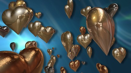 Shiny Golden Love Hearts on a Abstract Turquoise Blue Background