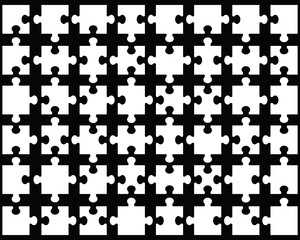 White puzzle on black background, vector illustration