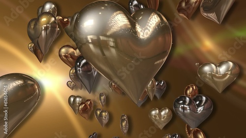 Shiny Golden Love Hearts on a Abstract Golden Orange Background