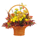 Flowers bouquet arrangement centerpiece in wicker basket isolate