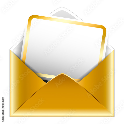 Golden paper envelope with a postcard on white background. Holid