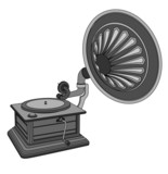retro old gramophone isolated on a white background