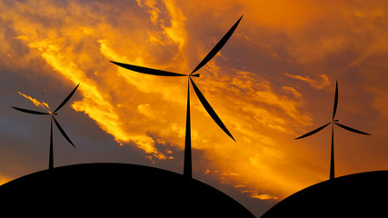 Wind turbine silhouette sunset or sunrise economic system backg
