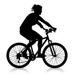Schwarze Silhouette einer Fahrrad fahrenden Frau