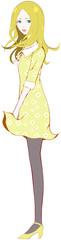 花柄 ワンピース 黄