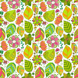 Colorful floral seamless pattern with leaves and flowers.