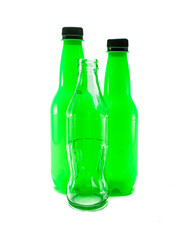 plastic and glass bottle