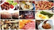 a collage of different food dishes