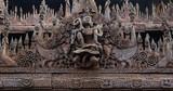 Wood carving detai at Shwe In Bin Kyaung  in Mandalay, Myanmar