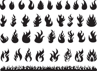 Set of black flames illustrated on white