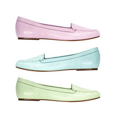 Set of colorful summer shoes flat shoes