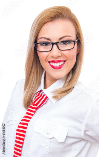 Portrait of young smile formal woman wearing specles