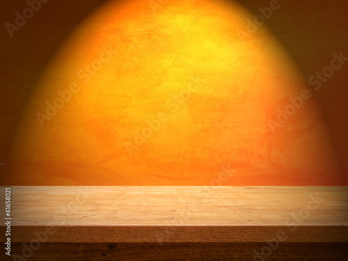 Table on Orange Wall with Light