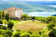 chateau in Aiguines and St Croix Lake at background, Var Departm