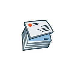 Simplified isolated business cards icon in cartoon style.