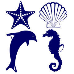 marine animals  icon set vector  illustration