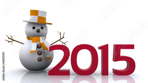 3D Illustration - Snowman with New Year 2015