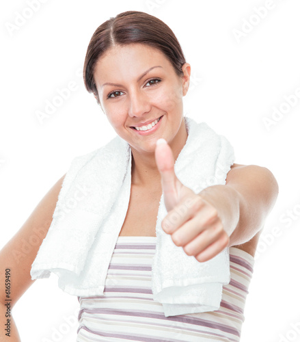 Smile beauty woman gesturing thumb up
