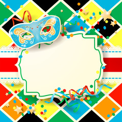 Carnival background with label and mask