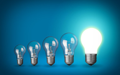 Row of light bulbs.Idea concept on blue background.