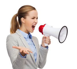 angry businesswoman with megaphone