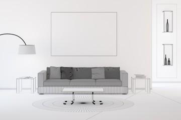 Wireframe CAD design of living room