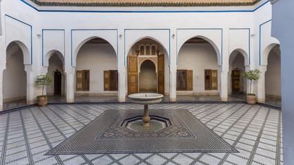 Al Bahia Palace, courtyard, in Marrakesh, Morocco