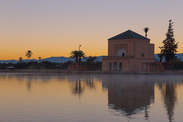 Menara Gardens in Marrakesh at dawn