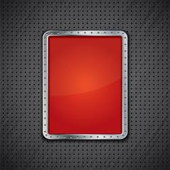 Metal panel or red metallic advertising board