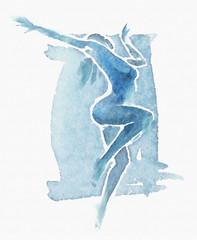 Naked Modern Dancer Watercolor Blue