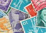 Close view of canceled vintage postage stamps