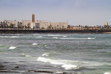 Atlantic beach with mosque, Casablanca Morocco