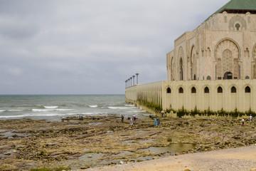 Side of Hassan II mosque, Casablanca Morocco