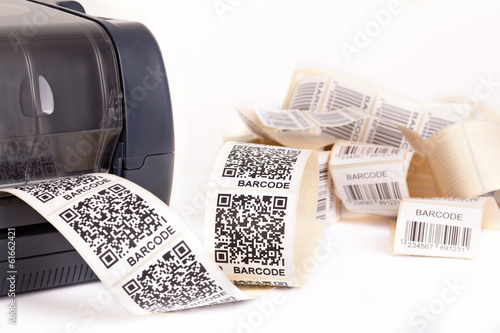 Leinwanddruck Bild barcode label printer